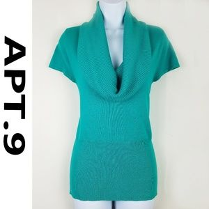 AQUA (blue/green) COW NECK CAP SLEEVE SWEATER! IN